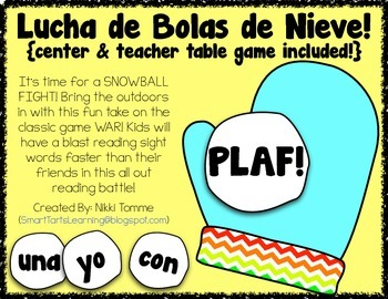 Lucha de Bolas de Nieve: A Spanish Sight Word Reading Game Center