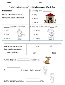 Lucia's Neighborhood - Vocabulary & Comprehension Test/Quiz (Journeys)