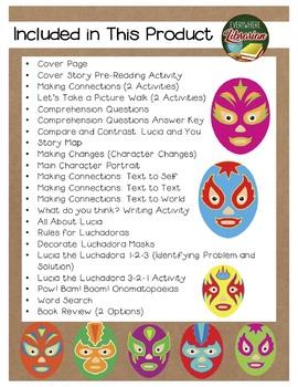 Lucia the Luchadora by Garza 24 Book Extension Activities NO PREP