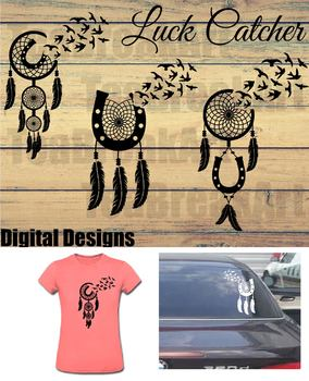 Luck Dream Catcher bird flying Monogram Cutting Files SVG PNG EPS ClipArt 728C