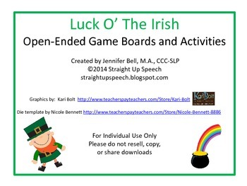 Luck O' The Irish Open-Ended Game Boards and Activities