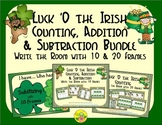 St. Patrick's Day Count, Add & Subtract Bundle with 10 & 20 Frames {Subitizing}