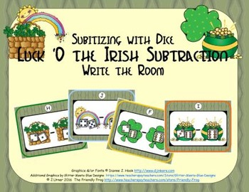 Luck 'O the Irish Subtraction {Subitizing with Dice}