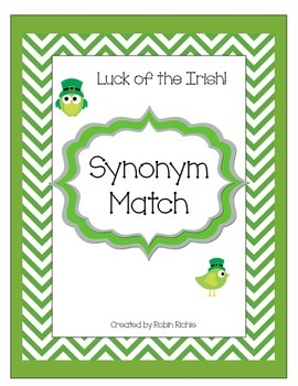 Luck of the Irish Synonym Match St. Patricks Day Literacy Center