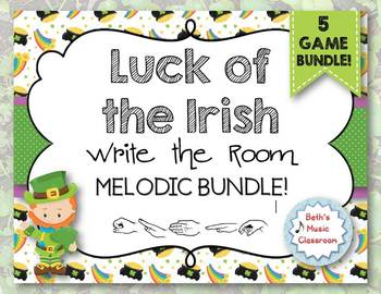 Luck of the Irish - Write-the-Room BUNDLE!  5 Melodic Scavenger Hunt Games!