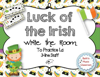 Luck of the Irish, Write-the-Room - Melodic Scavenger Hunt - La, 3-line Staff