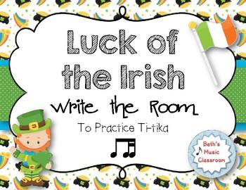 Luck of the Irish, Write-the-Room Rhythm Game - Practice Ti-tika