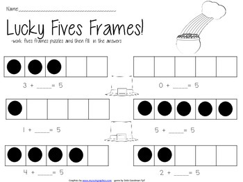 Lucky 10 and 5 Frames Puzzles and Worksheets-- Decomposing 5 and 10