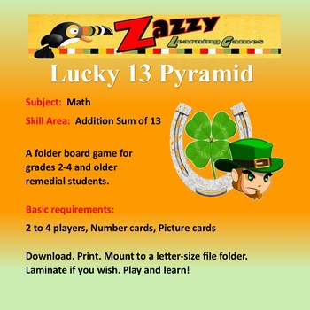 Lucky 13 Pyramid Folder Game Math Addition Sum of 13