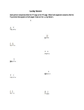 Lucky 7- Differentiated division of fractions