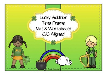 Lucky Addition Tens Frame Mat & Worksheets C/C Aligned