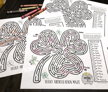 Lucky Articulation Mazes: A Speech Therapy Activity