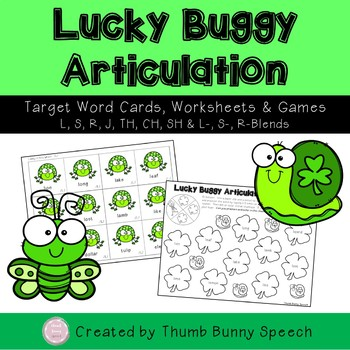 Lucky Buggy Articulation - St. Patrick's Day Cards, Worksheets, Games