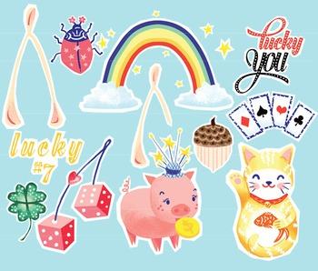 Lucky Charm Clipart, St Patricks Day Clip Art, Good Luck Charms Clip Art