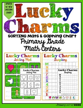 """""""Updated New Unicorn"""" Lucky Charm Sorting Mats and Graphing Chart Math Centers"""