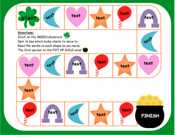 Lucky Charms Board Game: Editable! Great for March Fun & St. Patrick's Day