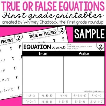 True False Equations FREEBIE!
