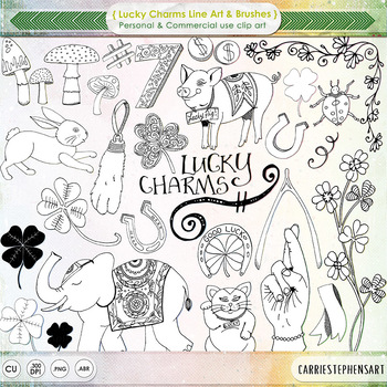 Lucky Charms Line Art - Digital Stamps, Wish, Good Luck, Fingers Crossed