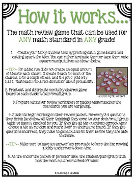 Lucky Charms Math Review Game