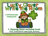 Lucky Clover Write the Room-Aligned and Differentiated CVC, CCVC/CVCC and CVCe