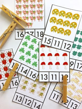 St. Patrick's Day Lucky Count and Clip Cards Teen Numbers 11-20