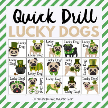 Quick Drill St. Patrick's Day Lucky Dogs {for speech therapy or any skill drill}