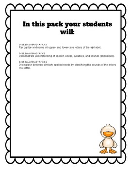 Lucky Duck- Back to School Activity