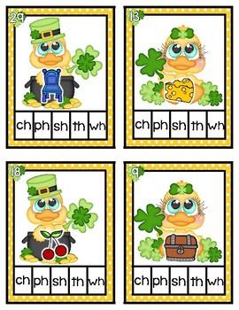 Lucky Duck St. Patrick's Day Digraphs Literacy Center Kindergarten Clip Cards