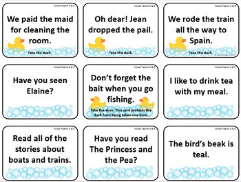 Lucky Duck Vowel Teams A and E Card Game