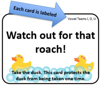 Lucky Duck Vowel Teams I, O, and U Card Game