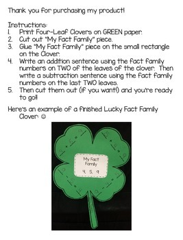 Lucky Fact Families Activity