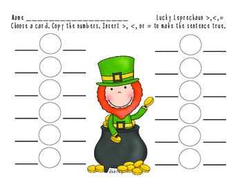 Lucky Leprechaun Greater Than, Less Than or Equal To Math Center