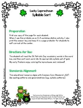 Lucky Leprechaun Syllable Sort - No Prep
