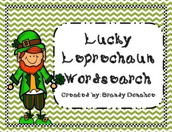 St. Patrick's Day Lucky Leprechaun Word Search FREEBIE!!