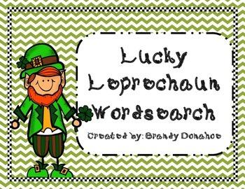 St. Patrick's Day Lucky Leprechaun Word Search FREEBIE!!