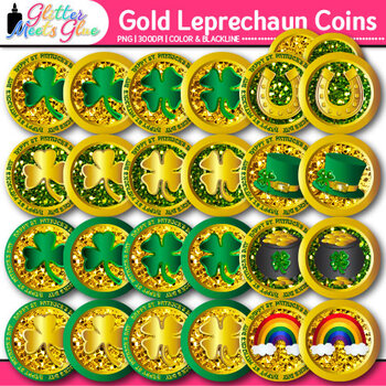 St. Patrick's Day Coin Clip Art {Money Graphics for Math Games and Stations}