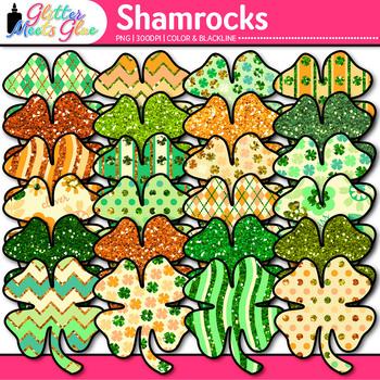 Shamrock Clip Art | Saint Patrick's Day 4-Leaf Clovers for Brag Tags & Task Card