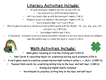 Lucky Leprechauns Literacy and Math Activities Common Core Aligned!