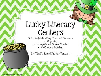 Lucky Literacy Centers-3 St. Patrick's Day Centers for March
