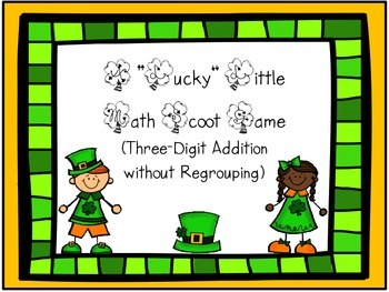 """Lucky Little Scoot Games"" freebie (3-digit addition with & without regrouping)"