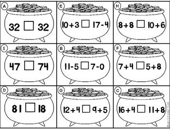 Lucky Math Fun~ Ink Saving Math Centers!