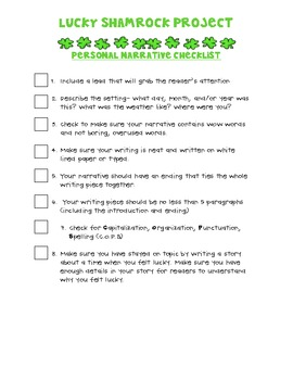 Lucky Shamrock Project Narrative Checklist
