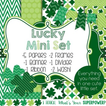 Digital Paper and Frame Mini Set St. Patricks Day