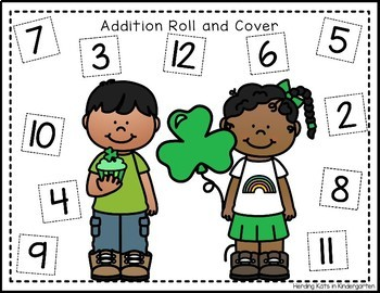 Lucky St. Patrick's Day  Roll & Cover Addition & Subtraction Games!