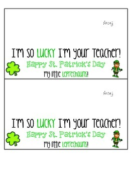 Lucky Student Treat Tag for St. Patrick's Day