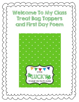 Welcome to My Class Poem and Treat Bag Toppers