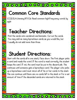 Lucky Treats Sight Words! Second Grade List Pack