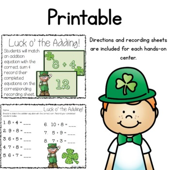 Lucky for Math! St. Patrick's Day Math Tub Activities {Common Core Aligned}