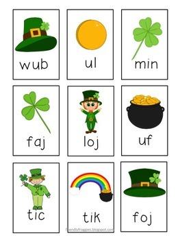 Nonsense Word Fluency - NWF Go Fish - St. Patrick's Day