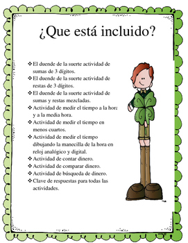 Lucky the Leprechaun St. Patrick's Day Math Bundle (Spanis
